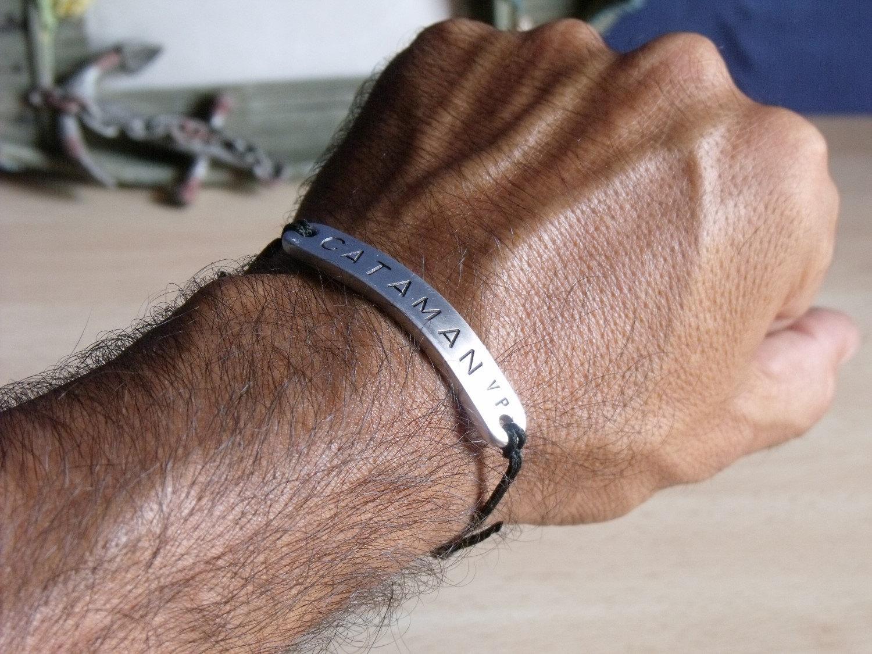 Personalized Simple Bracelet for Men - FREE Shipping - Aluminum Custom Hand Stamped Bracelet - Best Gift for Man Dad Husband