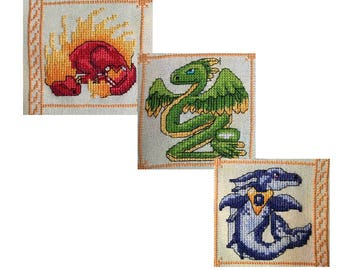 Birthstone Dragon - Set of 3 Cross Stitch Patterns - July, August and September - INSTANT PDF DOWNLOAD