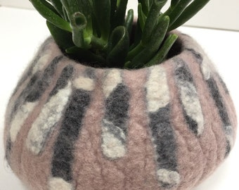 Felt pod, felted bowl, trinket bowl, plant holder