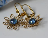 Vintage blue glass buttons and brass assemblage earrings - Shiny little buttons repurposed
