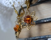 Vintage dark orange glass buttons and brass assemblage earrings