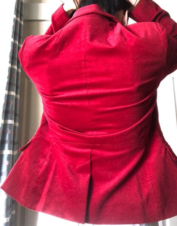 Velvet Blazer Crimson Red Color Fall Style - image 3