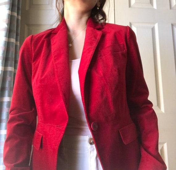 Velvet Blazer Crimson Red Color Fall Style - image 7