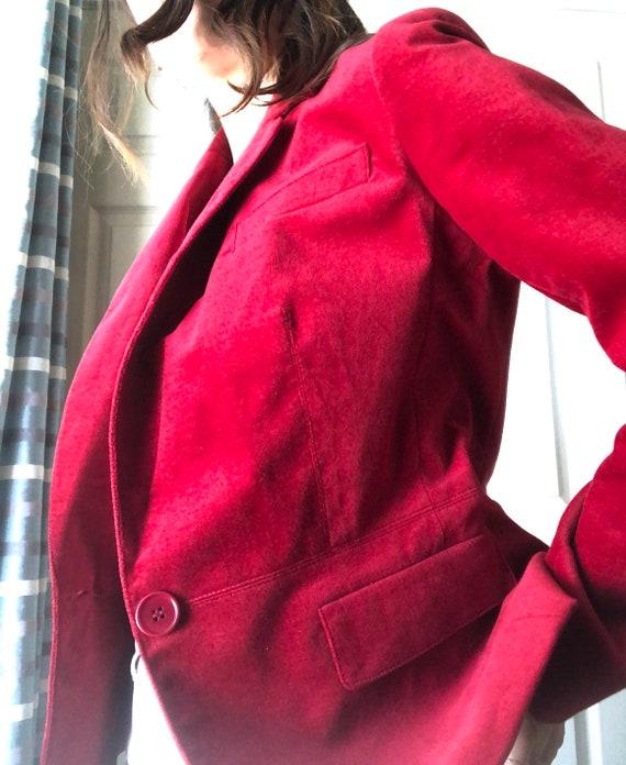 Velvet Blazer Crimson Red Color Fall Style - image 5