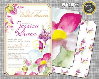 Floral Watercolor: Wedding Shower, Bridal- Paradise. DIY Printable