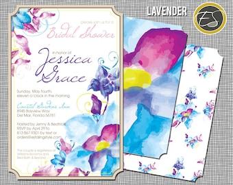 Floral Watercolor: Wedding Shower, Bridal Invitation- Lavender. DIY Printable