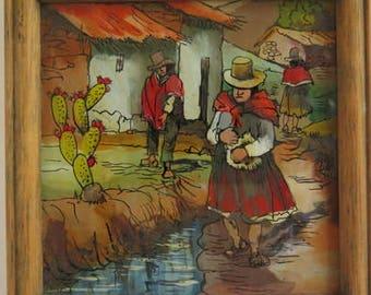 Peru Glass Paintings//Souvenir Peru//Glass Painting