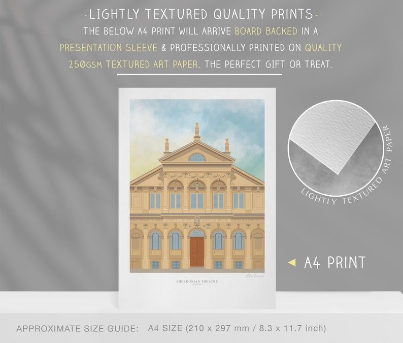 University of Oxford illustration Sheldonian Theatre The perfect Oxford University Graduation gift or memento for past students
