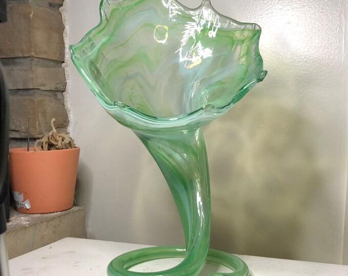 Green Swirl Glass vase