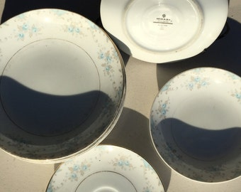 Mikasa® BARTON #211 Plate Bowl Dish Floral White Blue Taupe Gold Trim *VTG* 6 pc