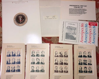 1986 Presidential Mint Stamp Set and Book