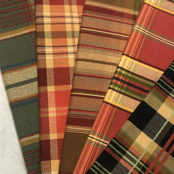 5-pc. Holiday Plaid fabric swatches