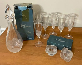 1990's Frosted Floral Decanter Set - 10 PCs.