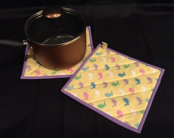 Easter Bunny Quilted, Insulated Pot Holder Set