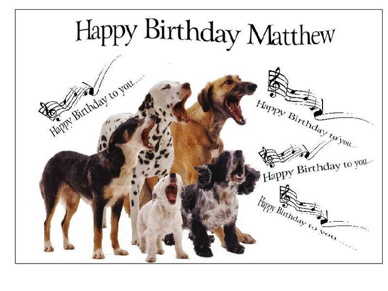 Singing Dogs Funny Unique Birthday Card Personalised For You