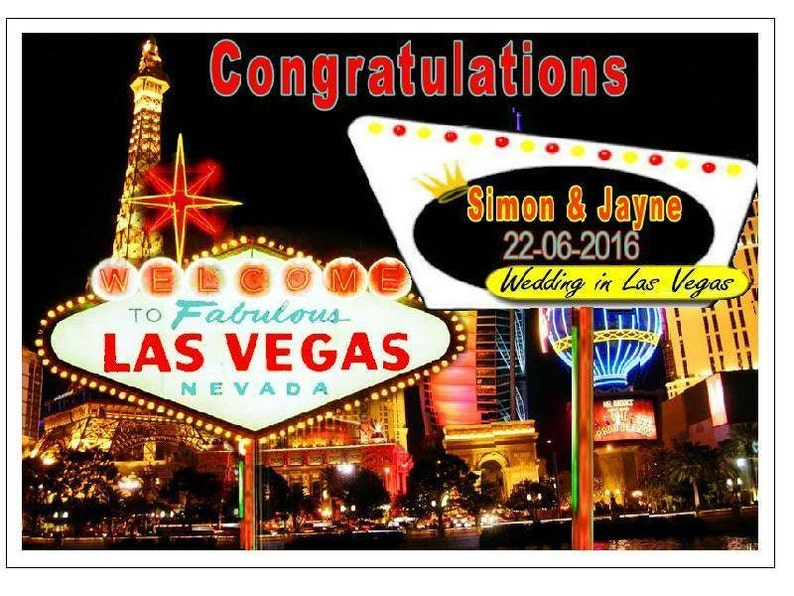 Las Vegas Wedding Day Personalised With Names Date