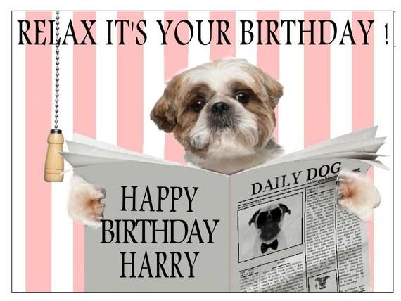 Shih Tzu On Toilet Funny Unique Birthday Card Personalised Etsy
