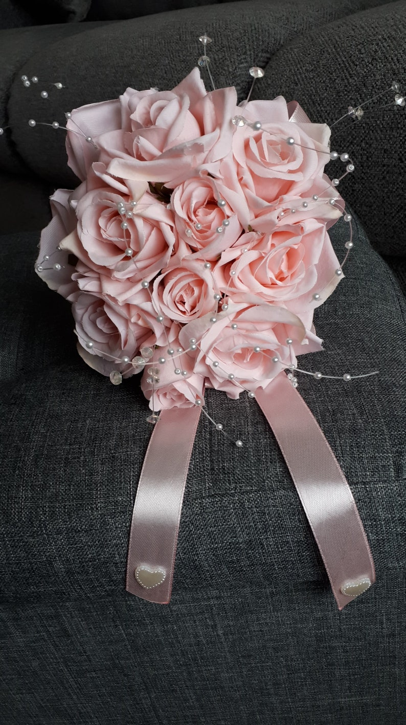 SILK pink roses bouquet with pink silk ribbon and seed pearls flower girl bridesmaid confirmation pageant etc.