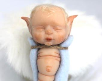 OOAK Caterpillar Baby: Hand Sculpted Art Doll