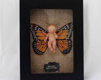 OOAK Miniature Baby: Framed Butterfly Hand-Sculpted Art Doll