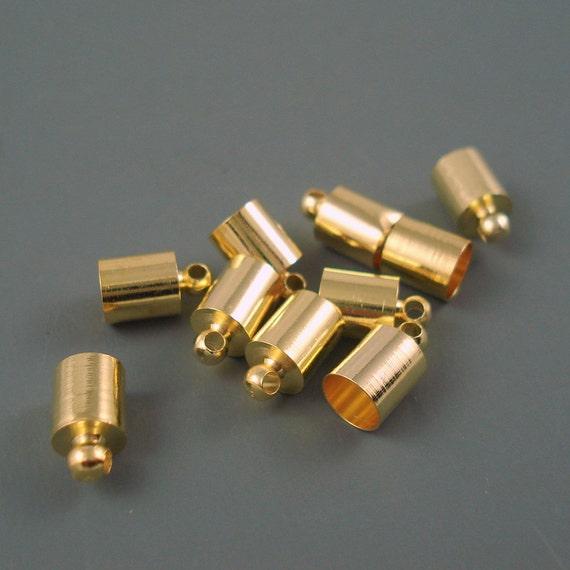 10 Endkappen für Lederb. 2-3 mm vergoldet