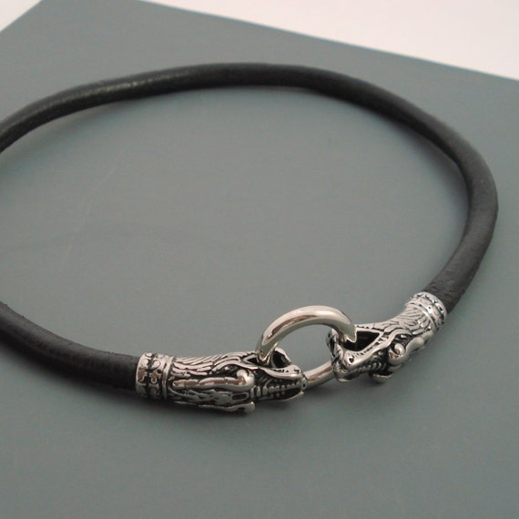 Black Leather Choker Necklace 6MM Leather with Stainless Steel Dragon Clasp Available in Smooth or Braided Leather