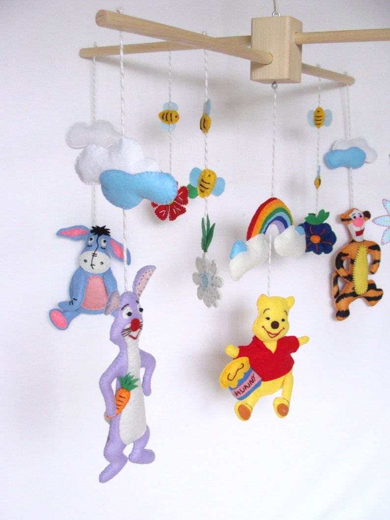 Winnie the Pooh Baby Mobile, Disney Baby Crib Mobile, Felt Winnie the Pooh  and Friends Mobile, Nursery Mobile, Colorful Felted Mobile