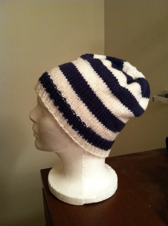 26f0ed79921 Knit skull cap navy white one size fits most striped hat