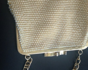 Vintage Artel Beaded Evening Bag, Gold Beaded Evening Bag, Styled by Artel Montreal Made in Hong Kong
