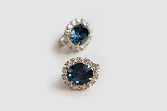 Royal blue glass and CZ Clip earrings, Unsigned ea