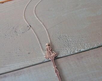 Nassau Spoon Necklace, Vintage spoon Y necklace, Silver and blue necklace, Vintage souvenir spoon, Repurposed jewellery