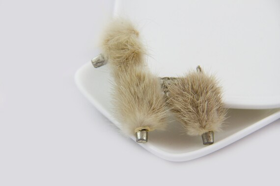 Mink Fur Poodle brooch, Unsigned poodle brooch