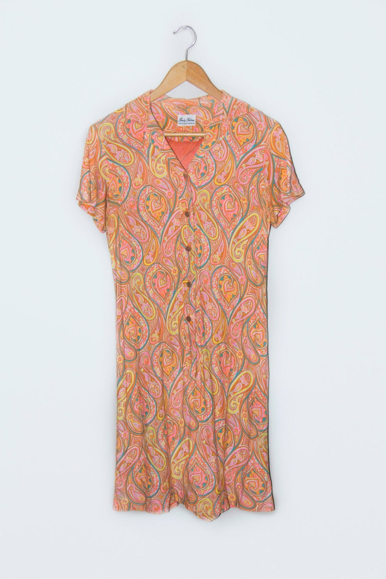 Orange paisley Vintage Paisley shirt dress Signed Timely Fashions Bright Orange yellow teal Paisley Print