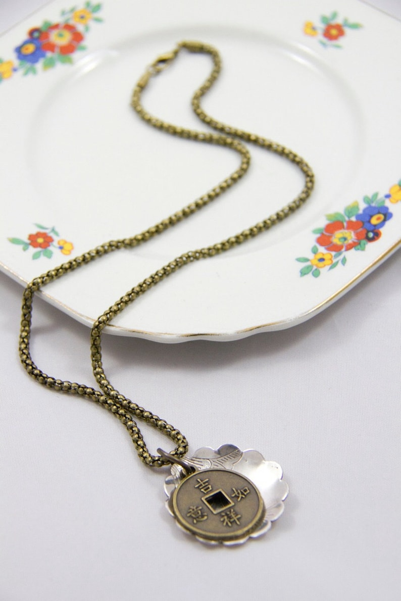 Antique Brass necklace Chinese Silvertoned and Brass Charm Pendant