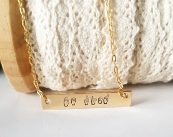 Hand Stamped Jewelry-Personalized necklace-14k gold filled Bar-Rectangle-Gold Inspiration Word-Uplifting-ASL-American Sign Language