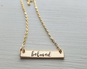 Hand Stamped Jewelry-Personalized necklace-14k gold filled Bar-Rectangle-Inspiration Word Bar-Uplifting-Graduation-Gift-Religious-Beloved