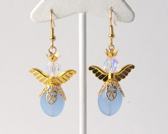 Gold Winged Angel and Light Blue Earrings