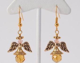 Earring, Angel with Topaz Swarovski Teardrop