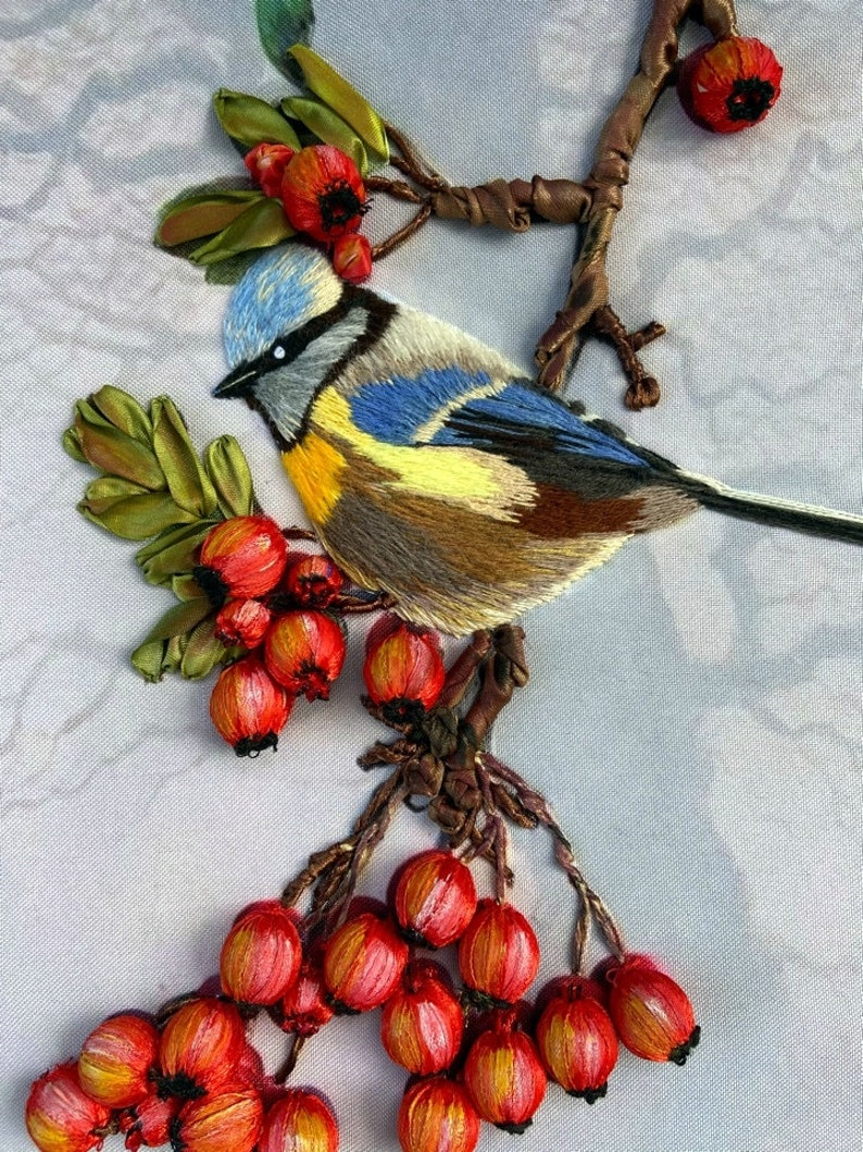 Ribbon embroidery Bird on the branch