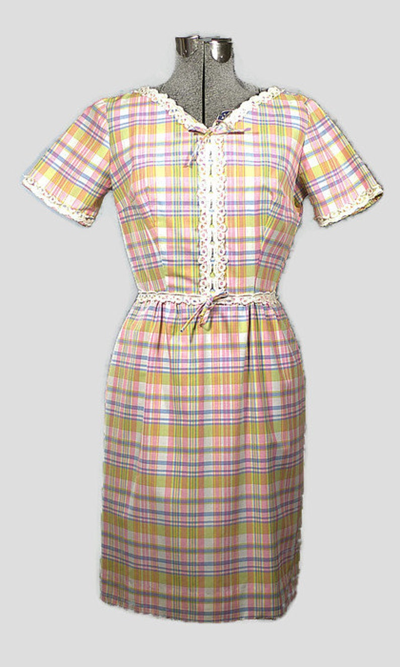 1960's Cotton Dress. Vintage Spring Cotton Plaid Shift image 0