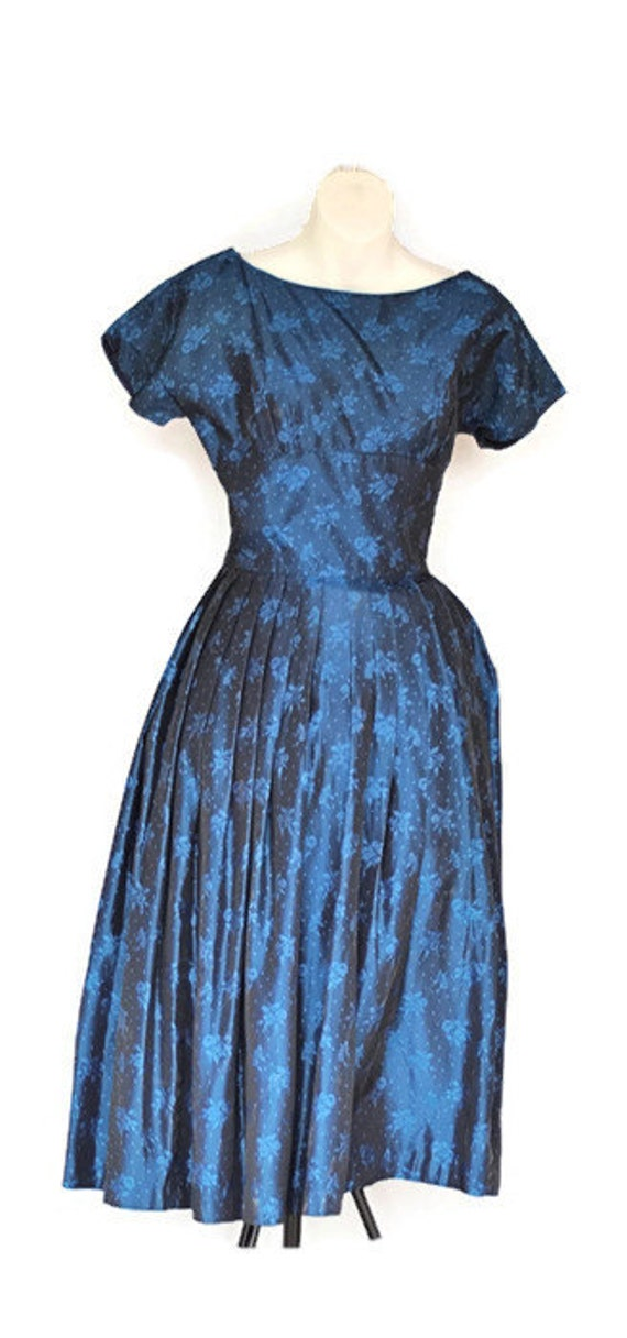 1950s Prom Vintage Dress Stars Dress Dress Prom Blue Midnight 4Fr4wU