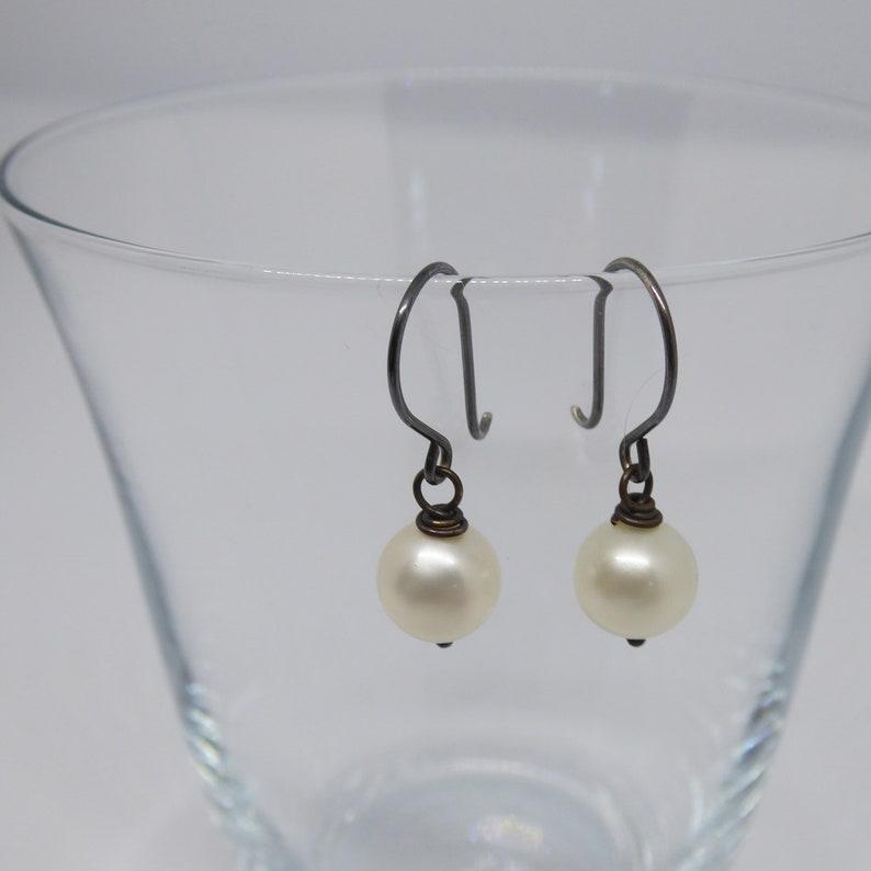 Oxidised sterling silver wire freshwater pearl earrings