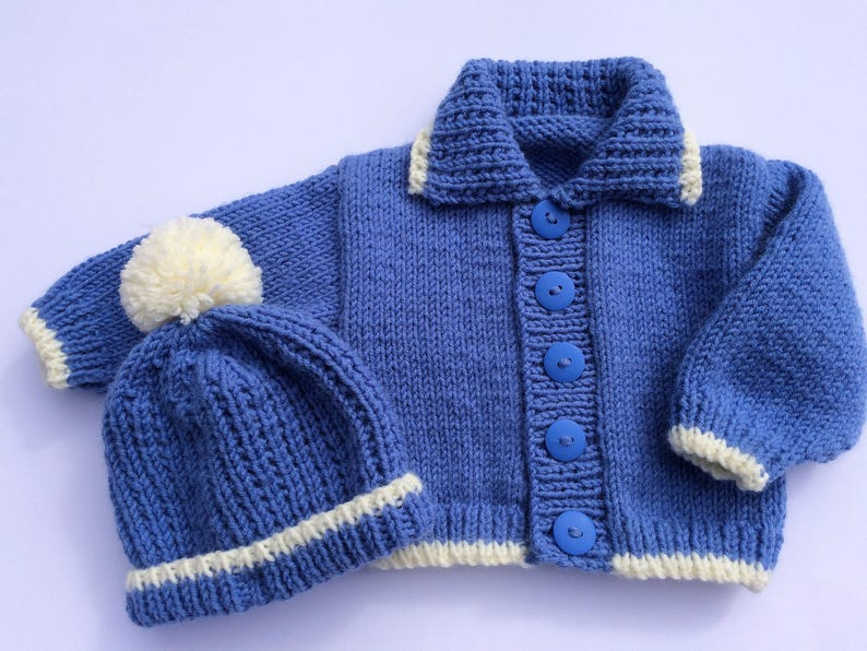 624f083d7484 PDF knitting pattern 53 Baby boys hat and cardigan set to