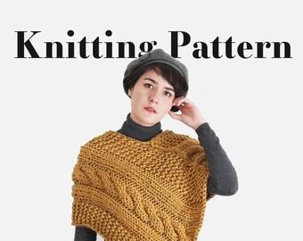 Knit Poncho Pattern - Chunky Cable Pattern - Woman's Knit Poncho - Fall Poncho Cape Winter - Women Knitting Pattern   The Janus Cape  