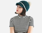 Chunky Crocheted Pom Pom Cap - Hat in Peacock & Cream - Baseball Cap for Women - Crochet Pom Pom Cap| The Ceres Cap |