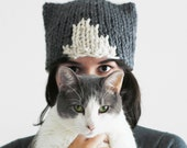 Knit Cat Hat - Cat Ears Hat - Hat with Cat Ears - Gift for Cat Lover - Charcoal and Cream Cat Beanie for Pet Lovers | The Orion Hat |