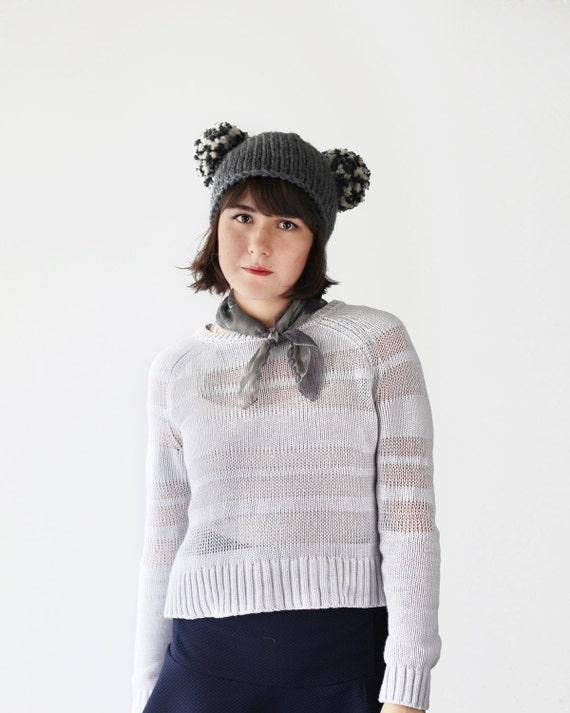 Knit Bear Hat Pom Pom Ears Hat Animal Ear Beanie in  678ba622c78