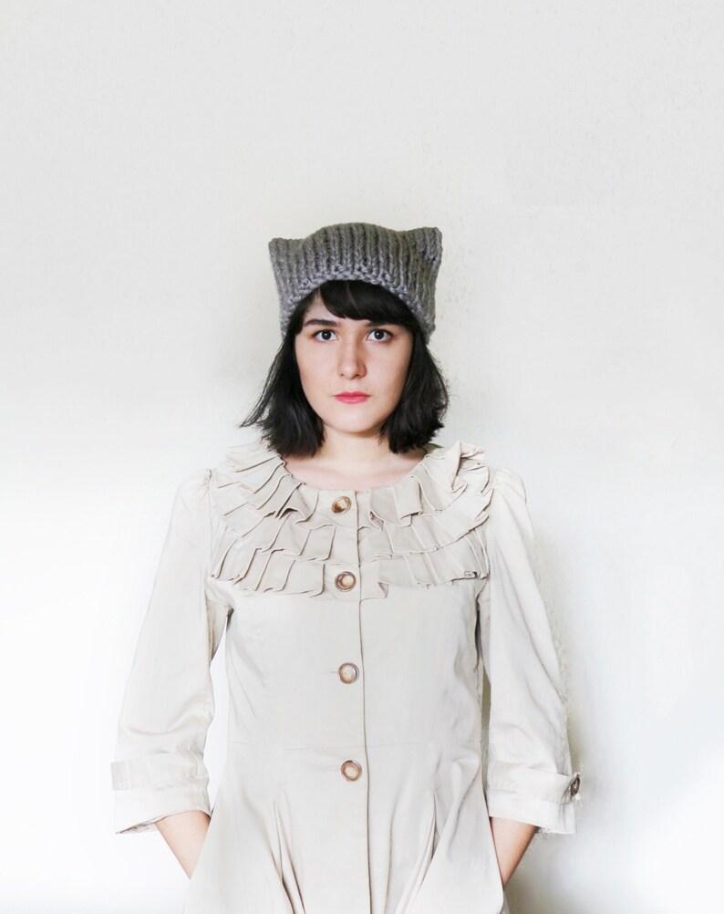 Cat Ear Knit Hat Beanie Cat Ears Hat Cat Hat Winter Animal Beanie in ... 37b56e01a2a