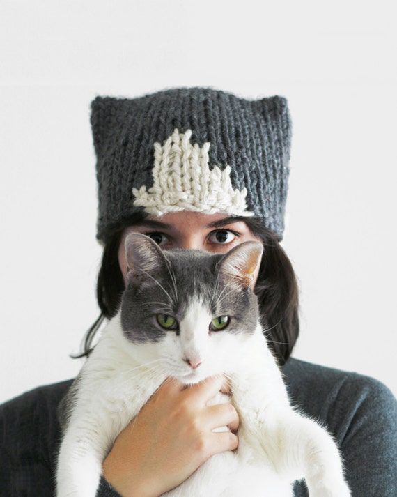 knit cat hat cat ears hat hat with cat ears gift for cat etsy