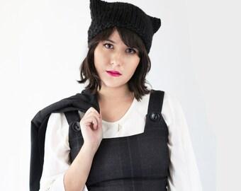 Cat Hat Beanie - Cat Ear Beanie - Kitten Hat in Black - Knit Ear Hat - Winter Accessories - Knit Kitten Hat | The Orion Hat |